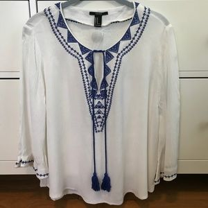 Forever 21 white tunic style blouse
